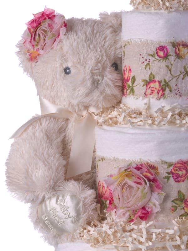 Rosy Bear Diaper Cake for Girls