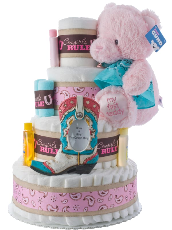 Cowgirls Rule Baby Shower Diaper Cake