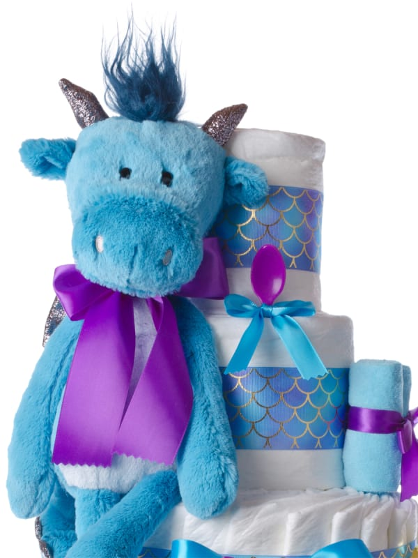 Danny the Dragon Neutral 4 Tier Baby Diaper Cake