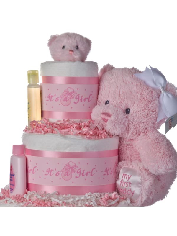 Lil Baby Cakes Girls Pink Bear 3 Tier Diaper Cake