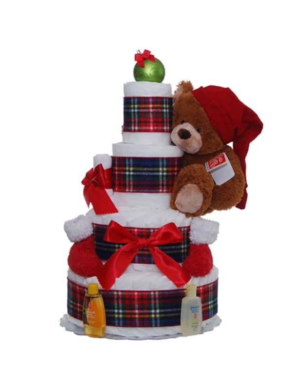Holiday Teddy 4 Tier Diaper Cake