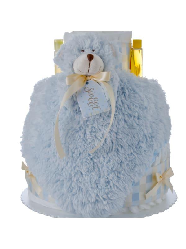 Lil Blue Bear 4 Tier Diaper Cake