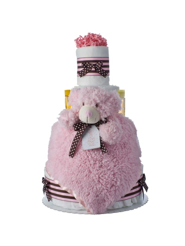 Lil' Pink Bear 4 Tier Baby Diaper Cake
