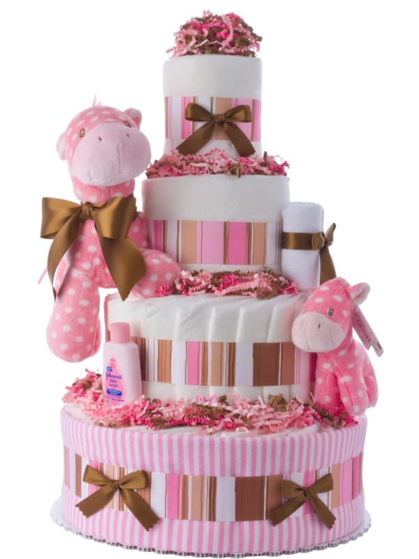 Lil Pink Pony Baby Shower Diaper Cake