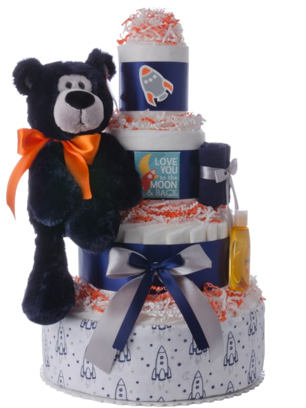 Love You to the Moon Diaper Cake for Boys