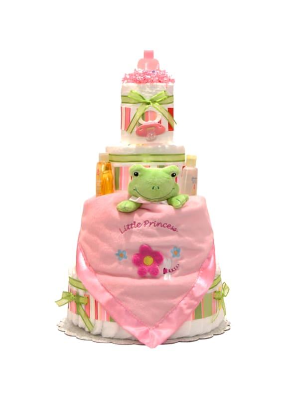 Satin Pink Frog 4 Tier Diaper Cake