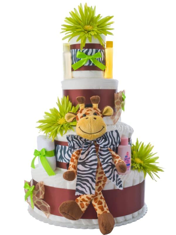 4 Tier Safari Giraffe Diaper Cake