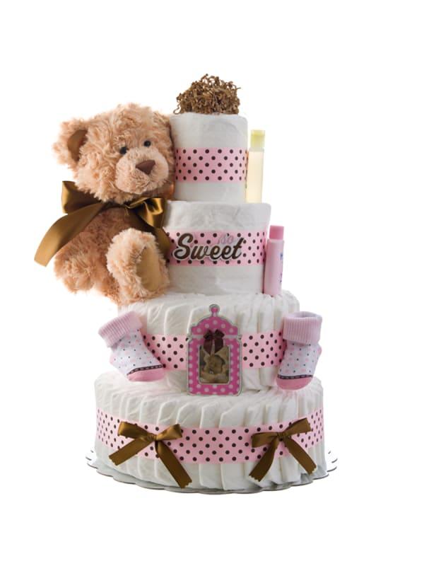 So Sweet Girl 4 Tier Diaper Cake