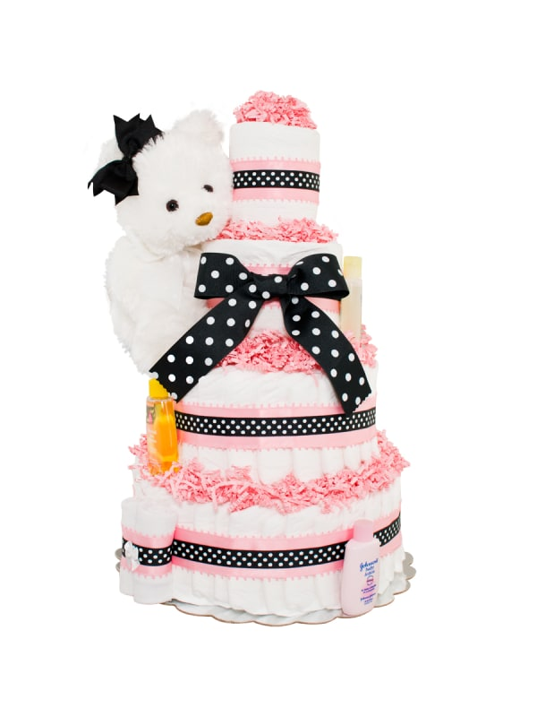 Sweet And Classy Girl 4 Tier Diaper Cake