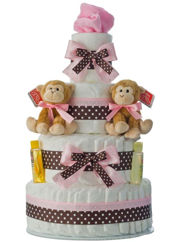 Twin Girls Monkey 4 Tier Diaper Cake