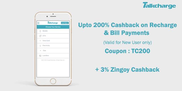 Talkcharge   upto 200  cashback tc200 rdqbvl