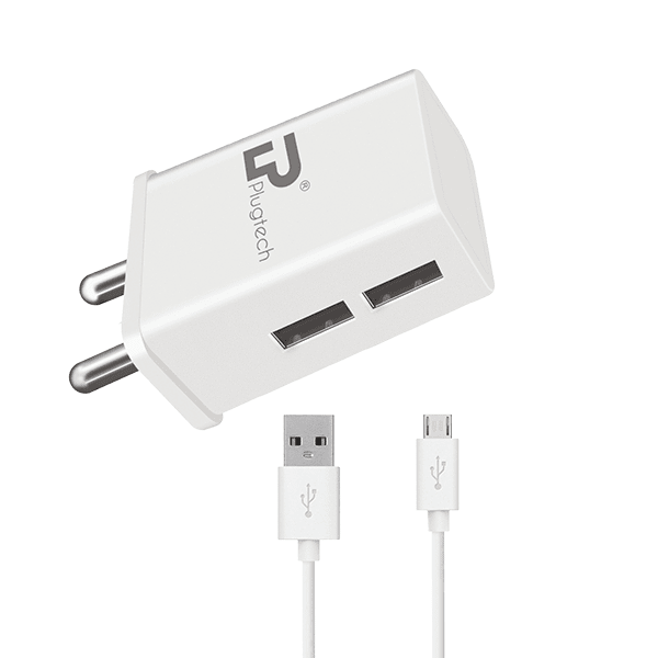 Plugtech  2.4A Dual Port Fast charger with Micro USB Cable (White)