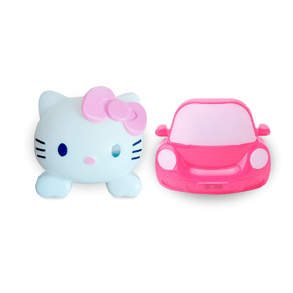 Home Decor Hello Kitty and Car Night Lamp- Pack of 2 (Assorted colours)