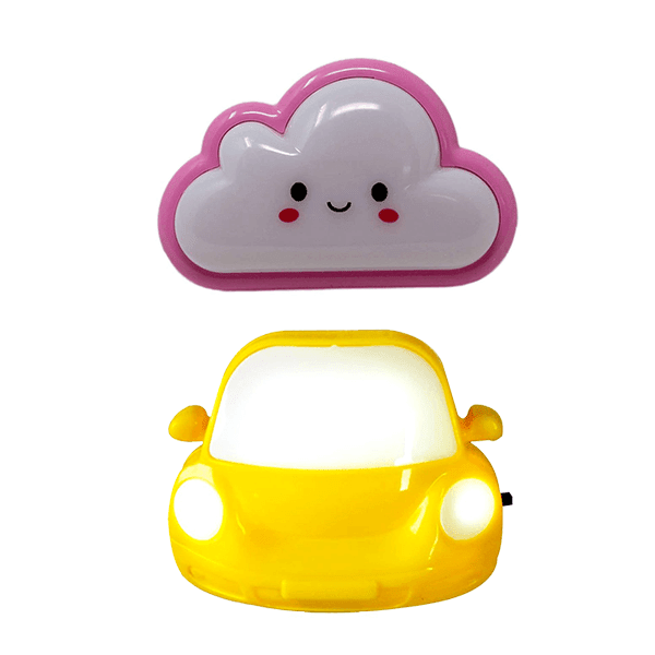 Pack of 2 Cute night lamp in Cloud and Car Shape (Assorted Colors)