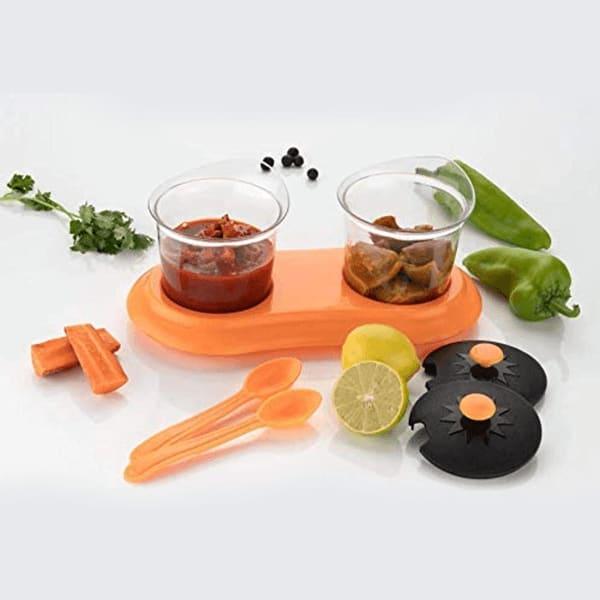 Multipurpose Plastic Spice or Storage Jar Set with Spoon, 2-Piece set (Assorted Color)