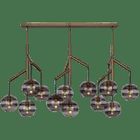 Sedona Triple Chandelier Triple Transparent Smoke Aged Brass No Lamp