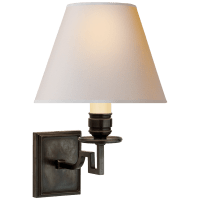 Dean Single Arm Sconce in Gun Metal with Natural Paper Shade