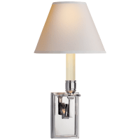 Dean Library Sconce in Polished Nickel with Natural Paper Shade