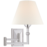 Jane Swing Arm Wall Light in Polished Nickel with Linen Shade