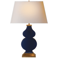 Anita Table Lamp in Midnight Blue Porcelain with Natural Paper Shade