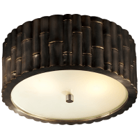 Frank Small Flush Mount in Gun Metal with Frosted Glass