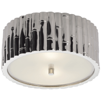 Frank Small Flush Mount in Polished Nickel with Frosted Glass