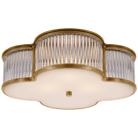 """Basil 17"""" Flush Mount in Natural Brass and Clear Glass Rods with Frosted Glass"""