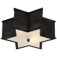 Sophia Small Flush Mount in Gun Metal with Frosted Glass