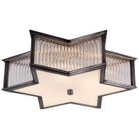 """Sophia 17"""" Flush Mount in Gun Metal and Clear Glass Rods with Frosted Glass"""