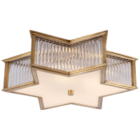 """Sophia 17"""" Flush Mount in Natural Brass and Clear Glass Rods with Frosted Glass"""
