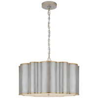 Markos Large Hanging Shade in Burnished Silver Leaf and Gild with Frosted Acrylic