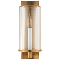 Deauville Single Sconce in Hand-Rubbed Antique Brass with Clear Glass