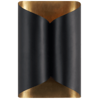 Selfoss Sconce in Black with Hand-Rubbed Antique Brass Interior