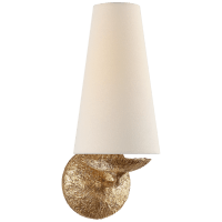 Fontaine Single Sconce in Gilded Plaster with Linen Shade