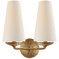 Fontaine Double Sconce in Gilded Plaster with Linen Shades