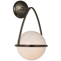 Lisette Bracketed Sconce in Bronze with White Glass