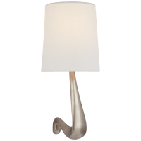 Gaya Large Sconce in Burnished Silver Leaf with Linen Shade