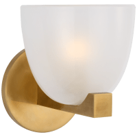 Carola Single Sconce in Hand-Rubbed Antique Brass with Frosted Glass