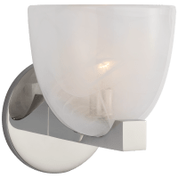 Carola Single Sconce in Polished Nickel with White Strie Glass