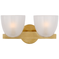 Carola Double Sconce in Hand-Rubbed Antique Brass with Frosted Glass
