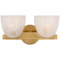 Carola Double Sconce in Hand-Rubbed Antique Brass with White Strie Glass