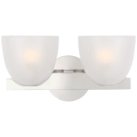 Carola Double Sconce in Polished Nickel with Frosted Glass