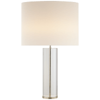Lineham Table Lamp in Crystal and Polished Nickel with Linen Shade