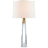 Olsen Table Lamp in Crystal and Hand-Rubbed Antique Brass with Linen Shade