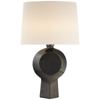 Nicolae Large Table Lamp in Boiling Black with Linen Shade