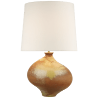 Celia Large Left Table Lamp in Yellow Oxide with Linen Shade