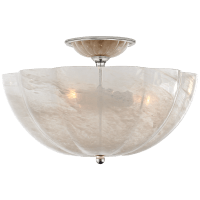 Rosehill Semi-Flush in Polished Nickel with White Strie Glass