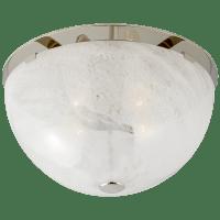 Serein Medium Flush Mount in Polished Nickel with White Strie Glass