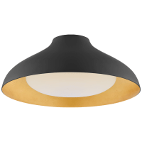 """Agnes 18"""" Flush Mount in Matte Black with Soft White Glass"""