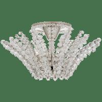 Serafina Small Semi-Flush Chandelier in Polished Nickel with Crystal